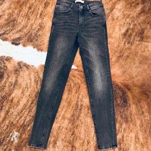 Zara black grey distressed high waist jeans